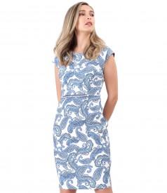 Elastic brocade dress with floral print