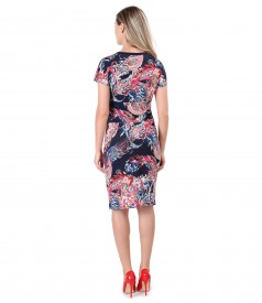 Elastic jersey dress with knot on the front