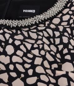 Elegant veil dress with animal print