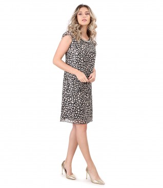 Elegant veil dress with animal print