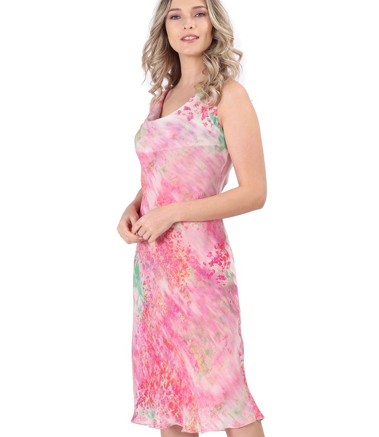 Printed veil dress with neckline in folds