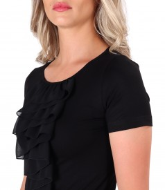 Jersey blouse with veil dickey