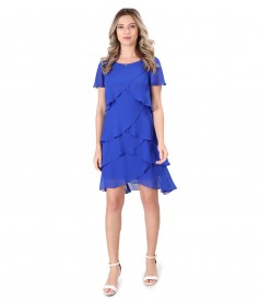 Dress with veil ruffles and crystals inserts