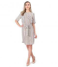 Shirt dress with waist belt