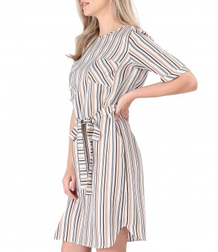 Shirt dress with waist belt