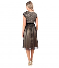 Evening lace dress with floral motifs and pearls