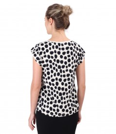 Jersey blouse printed with dots