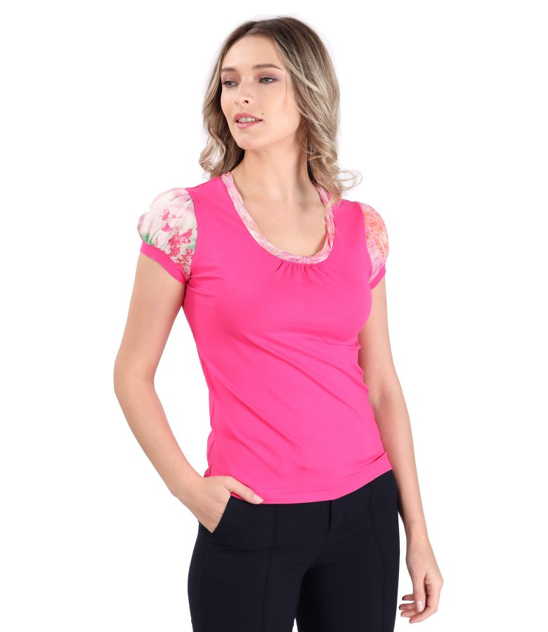 Elastic jersey blouse with veil sleeves