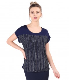 Blouse with veil front printed with stripes and dots.