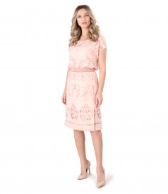 Elegant dress made of brocade organza with flax and viscose motifs