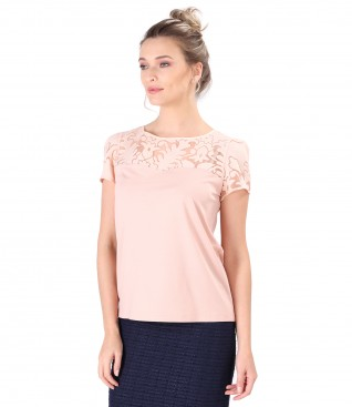 Elastic jersey blouse with brocade lining