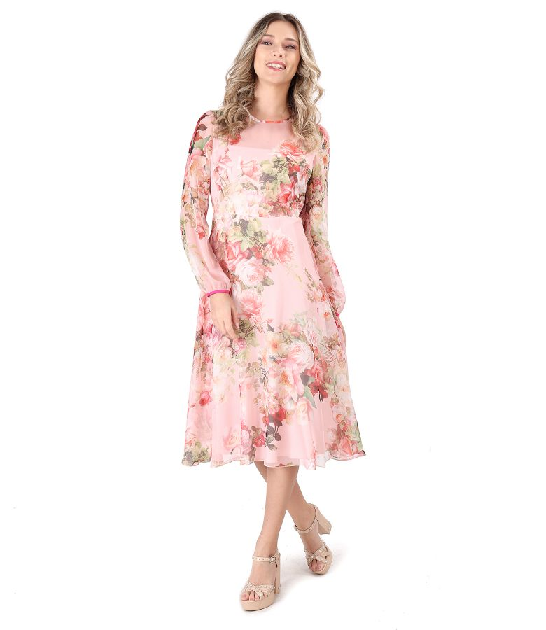 Veil dress printed with floral motifs
