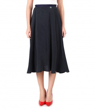 Viscose flared skirt printed with lace corner
