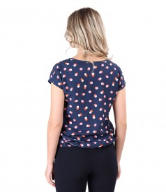 Elegant viscose blouse printed with dots