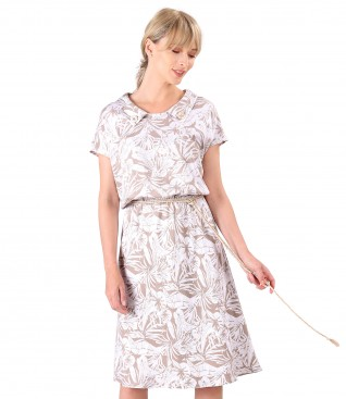 Elastic viscose casual dress with twine belt