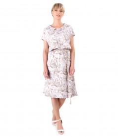 Elastic viscose casual dress with twine belt