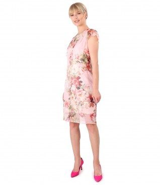Printed veil midi dress with floral motifs