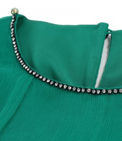 Silk dress with crystals inserts on decolletage