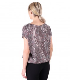 Casual blouse with crystal rips bow at the neckline