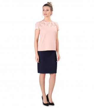 Office outfit with blouse with brocade trim and loops skirt