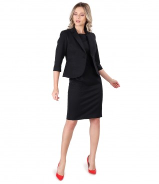 Office women suit with dress and jacket made of textured cotton