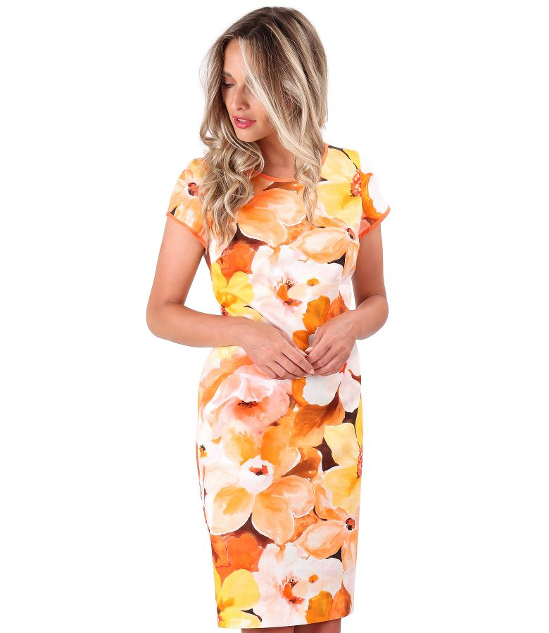 Printed cotton midi dress with floral motifs