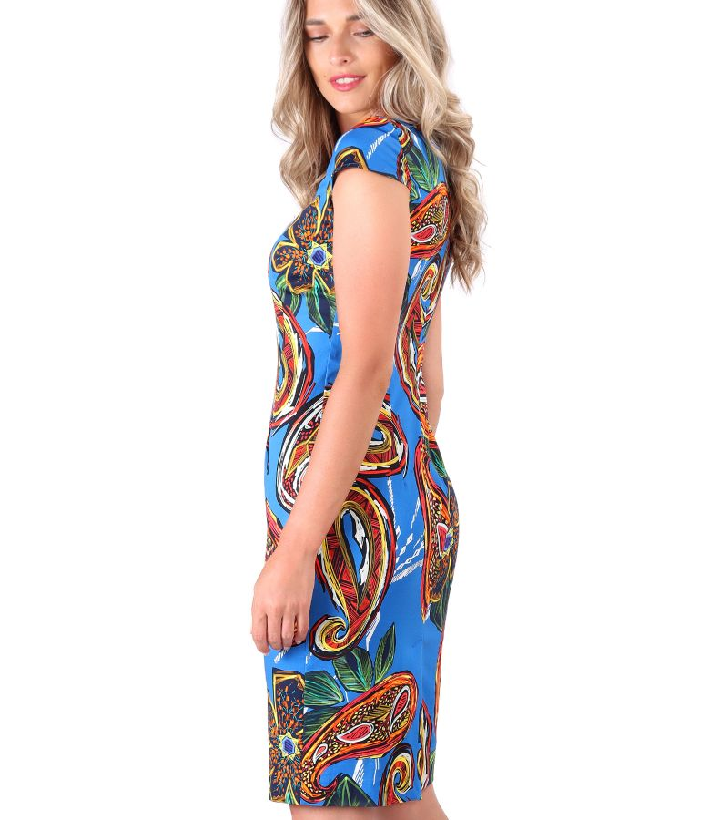 Printed cotton dress with floral motifs