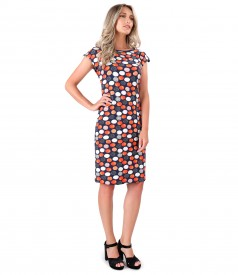 Jersey dress printed with dots