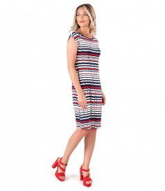 Jersey dress printed with stripes