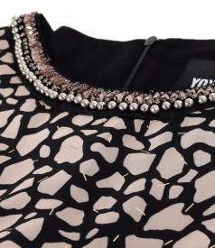 Veil dress with animal print