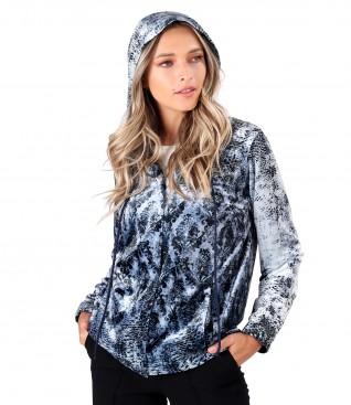 Printed elastic velvet hoodie