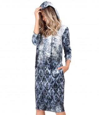 Hooded dress in printed elastic velvet