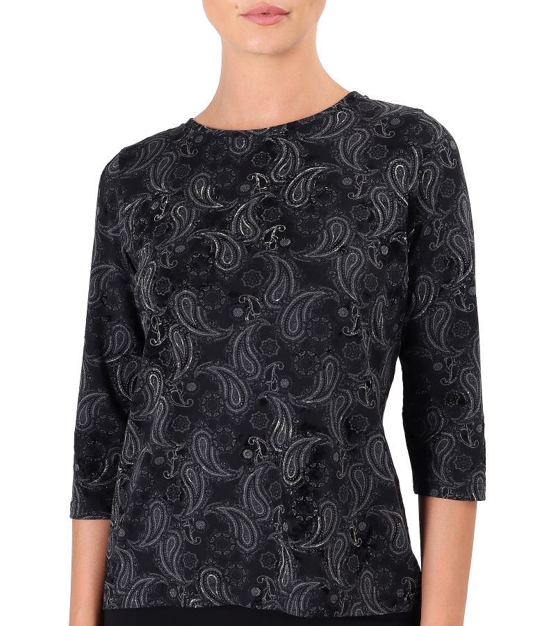 Blouse made of thick elastic jersey printed with paisley motifs