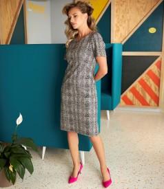 Fabric dress with animal print and lurex thread
