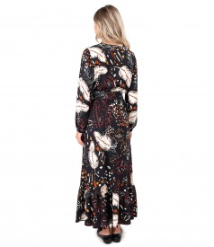 Long viscose dress printed with floral motifs