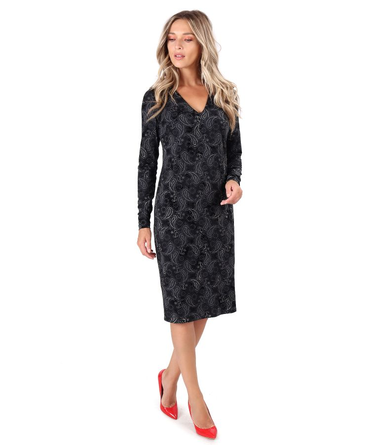 Midi dress made of printed elastic jersey with paisley motifs