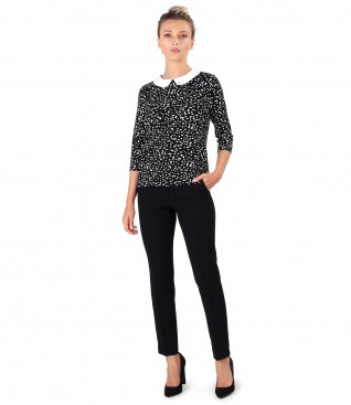 Office outfit with ankle pants and blouse with round collar