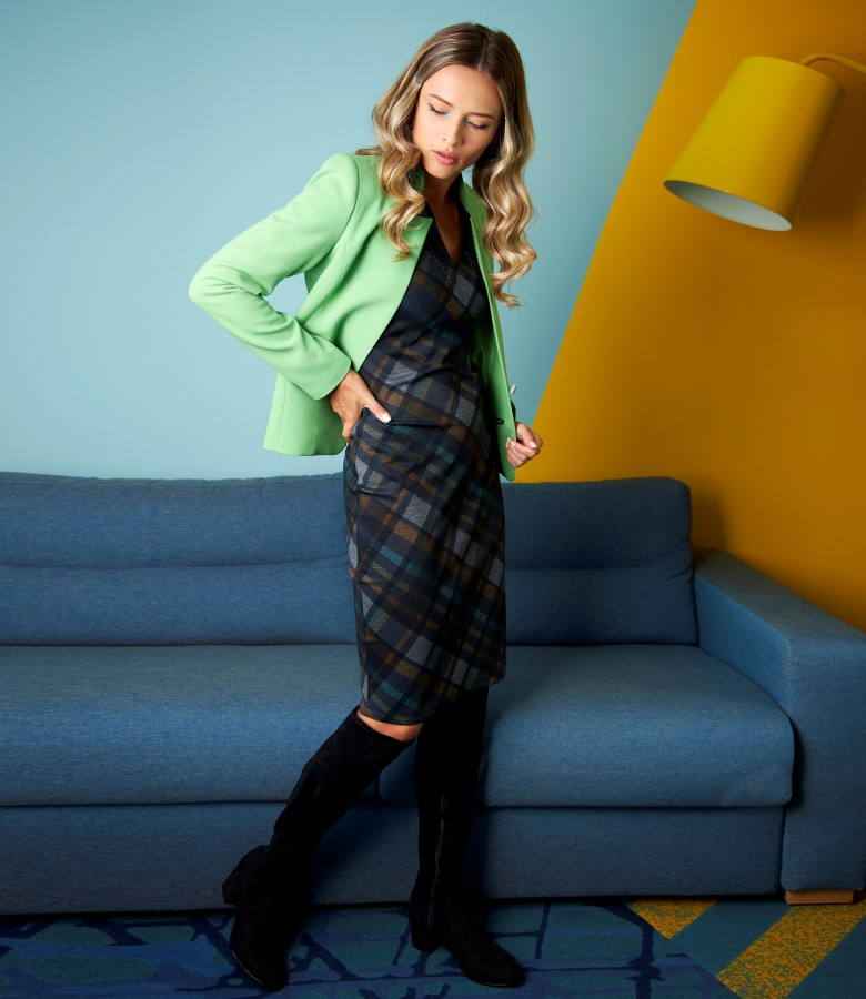 Jacket with tunic collar and dress with plaid