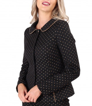 Office jacket made of cotton with Swarovski crystals inserts