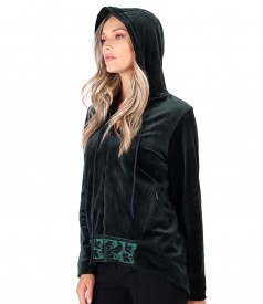 Velvet hoodie with front trim