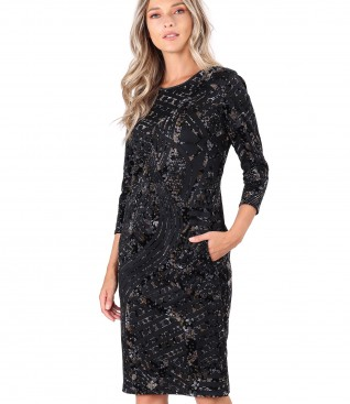 Velvet dress with floral motifs