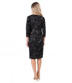 Velvet dress with floral motifs