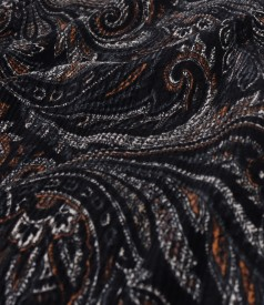 Midi dress made of elastic brocade with tunic collar