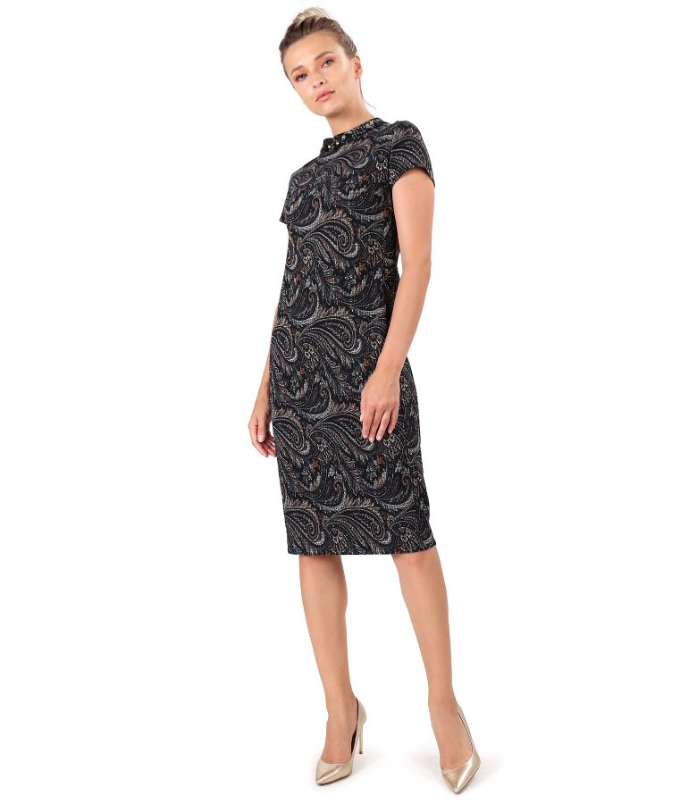 Midi dress made of elastic brocade with tunic collar