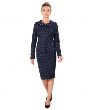 Office women suit with jacket and skirt made of cotton