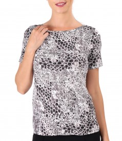 jersey blouse with 3d leopard print