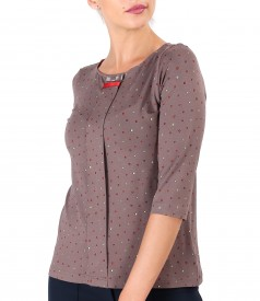 Elastic jersey blouse with rips bow at the neckline