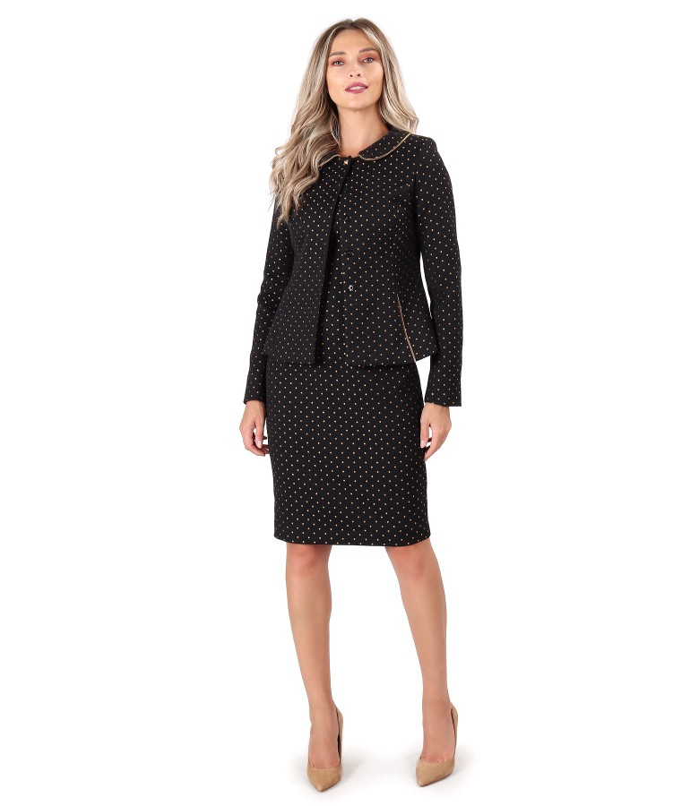 Office outfit with dress and jacket made of cotton