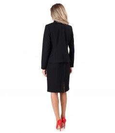 Office women suit with dress and jacket made of black elastic fabric