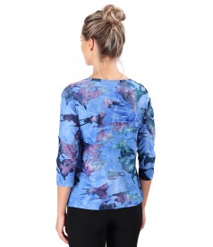 Jersey blouse with embossed woven pattern